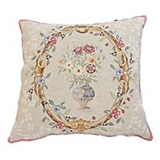 Corona Decor Gina French Woven Decorative Throw Pillow, Floral Design