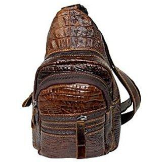 cc99b0b8b8 Mens 100% Genuine Leather Shoulder Bag Cowhide Crossbody Sling Hiking Satchel  Chest Bags Pack Small Backpack Brown