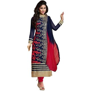 0cfb33d3c983 Buy Georgette Embroidered Semi-stitched Salwar Suit Dupatta Material (Semi- stitched) Online   ₹3000 from ShopClues