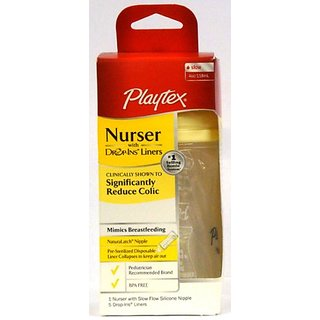 Playtex Nurser With 5 Drop-Ins Liners, 4 Oz, [Yellow] (Pack Of 3)