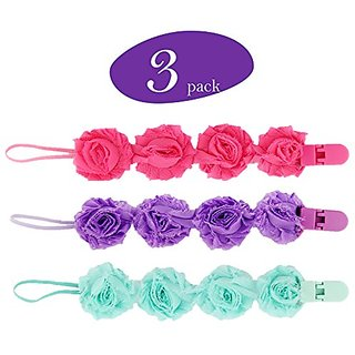 Flower Baby Pacifier Clips, 3 Pacifier Holder in Every Pack, Strong, Easy Clean, Perfect Baby Shower Gift