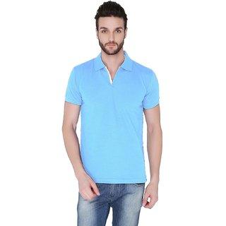 Joke Tees Solid Mens Polo TShirt Sky Blue