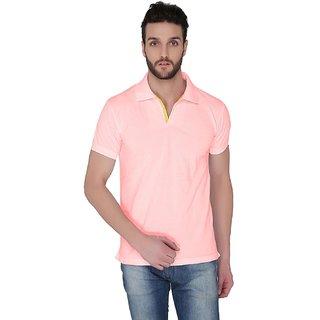 Joke Tees Solid Mens Polo TShirt Soft Pink