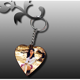 Wooden Photo Keychain-Heart