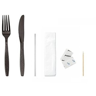Daxwell Black Plastic Heavy Weight Cutlery Kit with Fork, Knife, Salt & Pepper, Toothpick, Straw and Napkin (Case of 250