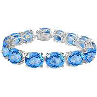 LoveBrightJewelry Radiant 14K White Gold Prong Set Oval Blue Topaz Bracelet