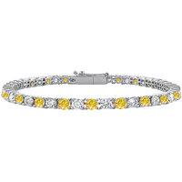Chic 14K White Gold Yellow Sapphire & Cubic Zirconia Prong-Set Tennis Bracelet