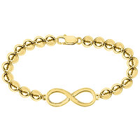 14K Yellow Gold Infinity Bracelet With Beads Set On 14K Yellow Gold Chain