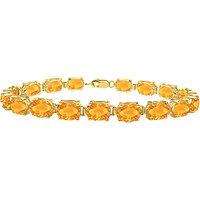 Citrine Tennis Bracelet Prong Set 18K Yellow Gold Vermeil In Sterling Silver