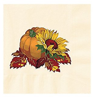 Hoffmaster 831339 Fall Bounty Ecru Printed Beverage Napkin, 2-Ply, 1/4 Fold, 10