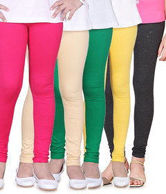 Pack Of 5 Multicoloured Solid Pure Hosiery Cotton Leggings