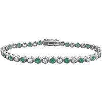 LoveBrightJewelry Modish Emerald & Diamond Tennis Bracelet On 14K White Gold