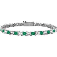 LoveBrightJewelry Stunning Emerald & Diamond Tennis Bracelet On 14K White Gold