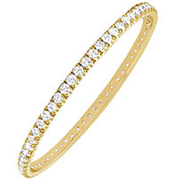 LoveBrightJewelry Modern 14K Yellow Gold & Diamond Eternity Bangle