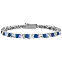 LoveBrightJewelry Sapphire & Diamond Tennis Bracelet On 18K White Gold