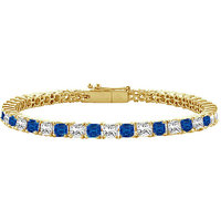 Excellent Sapphire & Diamond Tennis Bracelet On 18K Yellow Gold
