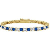 LoveBrightJewelry Refined Sapphire & Diamond Tennis Bracelet On 18K Yellow Gold