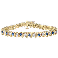 LoveBrightJewelry Comely Sapphire & Diamond Tennis Bracelet On 18K Yellow Gold