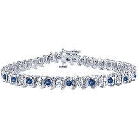 LoveBrightJewelry Appealing Sapphire & Diamond Tennis Bracelet On Platinum