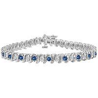 LoveBrightJewelry Gorgeous Sapphire & Diamond Tennis Bracelet On 18K White Gold