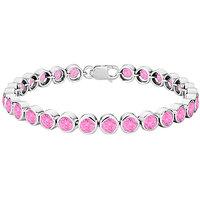 LoveBrightJewelry Pink Topaz Bezel-Set Tennis Bracelet .925 Sterling Silver
