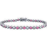 LoveBrightJewelry Classic Platinum Pink Sapphire & Diamond Tennis Bracelet