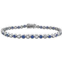 Resplendent Sapphire & Diamond Tennis Bracelet On 14K White Gold