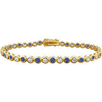 LoveBrightJewelry Sublime Sapphire & Diamond Tennis Bracelet On 14K Yellow Gold