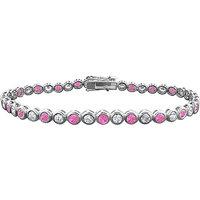 LoveBrightJewelry Radiant 14K White Gold Pink Sapphire & Diamond Tennis Bracelet