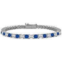 LoveBrightJewelry Radiant Sapphire & Diamond Tennis Bracelet On 14K White Gold