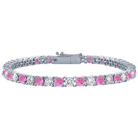 LoveBrightJewelry Pink Sapphires & Diamond Tennis Bracelet Platinum