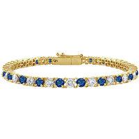 LoveBrightJewelry Shapely Sapphire & Diamond Tennis Bracelet On 14K Yellow Gold