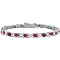 LoveBrightJewelry Ruby & Diamond Tennis Bracelet With On 14K White Gold