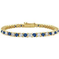 LoveBrightJewelry Lovely Sapphire & Diamond Tennis Bracelet On 18K Yellow Gold