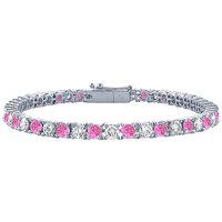 LoveBrightJewelry Nice Platinum Pink Sapphire & Diamond Tennis Bracelet