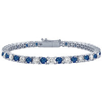 LoveBrightJewelry Resplendent Sapphire & Diamond Tennis Bracelet On Platinum