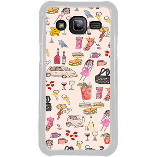ifasho Modern Art Design Pattern girl shop car food bird Back Case Cover for Samsung Galaxy J2