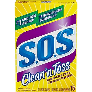 S.O.S. Clean n Toss Steel Wool Soap Pads, 15 Count
