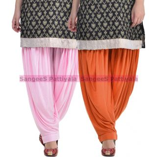 SangeeS Superior Quality Viscose Lycra Pattiyala 2 Pack Combo With   Light Pink - Trendy Brown