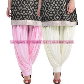SangeeS Superior Quality Viscose Lycra Pattiyala 2 Pack Combo With   Light Pink - Cream