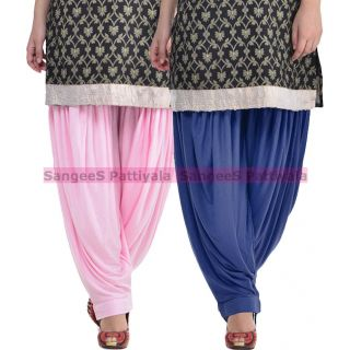 SangeeS Superior Quality Viscose Lycra Pattiyala 2 Pack Combo With   Light Pink - Navy