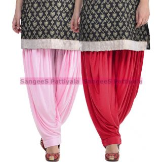 SangeeS Superior Quality Viscose Lycra Pattiyala 2 Pack Combo With   Light Pink - Meroon
