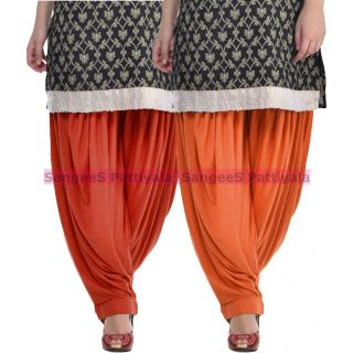 SangeeS Superior Quality Viscose Lycra Pattiyala 2 Pack Combo With   Deep Brown - Trendy Brown