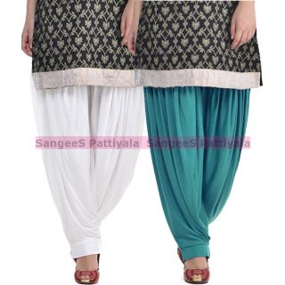 SangeeS Superior Quality Viscose Lycra Pattiyala 2 Pack Combo With   White - Aqua Blue