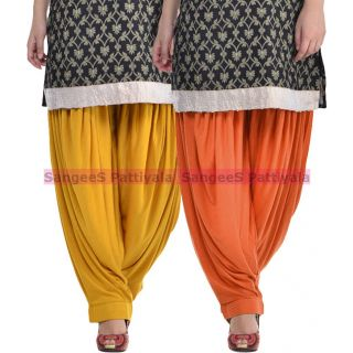 SangeeS Superior Quality Viscose Lycra Pattiyala 2 Pack Combo With   Mustard - Trendy Brown