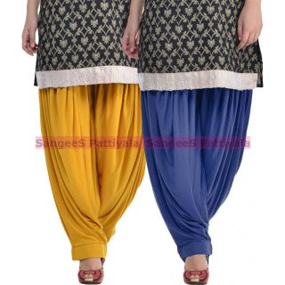 SangeeS Superior Quality Viscose Lycra Pattiyala 2 Pack Combo With   Mustard - Navy