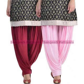 SangeeS Superior Quality Viscose Lycra Pattiyala 2 Pack Combo With   Mulberry - Light Pink