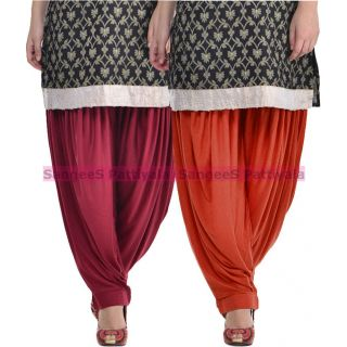 SangeeS Superior Quality Viscose Lycra Pattiyala 2 Pack Combo With   Mulberry - Deep Brown