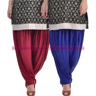 SangeeS Superior Quality Viscose Lycra Pattiyala 2 Pack Combo With   Mulberry - Royal Blue