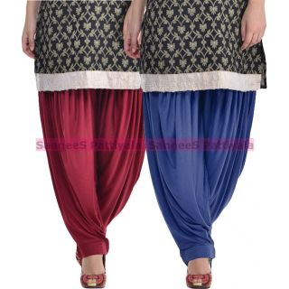SangeeS Superior Quality Viscose Lycra Pattiyala 2 Pack Combo With   Mulberry - Navy